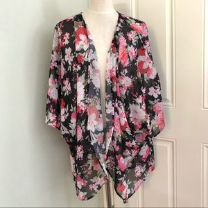 Floral kimono robe beach swimsuit coverup